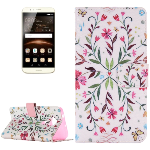 Buy For Huawei G8 Flower Pattern Horizontal Flip Leather Case with Holder & Card Slots & Wallet for $2.55 in SUNSKY store