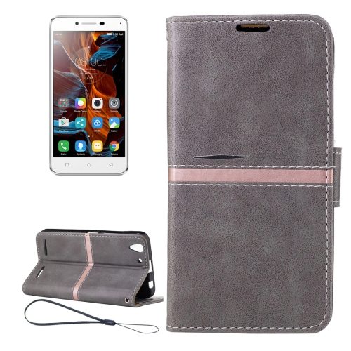 Buy For Lenovo K5 Crazy Horse Texture Horizontal Flip PU Leather Case with Holder & Card Slots & Wallet & Photo Frame & Lanyard, Grey for $2.77 in SUNSKY store