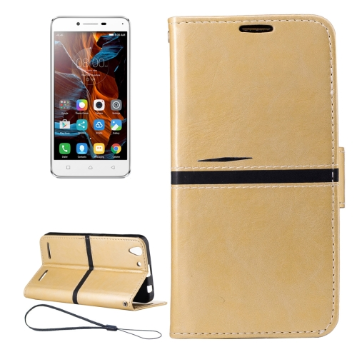 For Lenovo K5 Crazy Horse Texture Horizontal Flip PU Leather Case with Holder & Card Slots & Wallet & Photo Frame & Lanyard, Gold