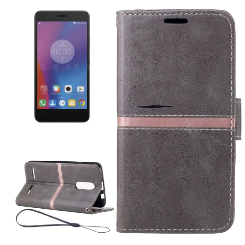 Buy For Lenovo K6 Crazy Horse Texture Horizontal Flip PU Leather Case with Holder & Card Slots & Wallet & Photo Frame & Lanyard, Grey for $2.77 in SUNSKY store