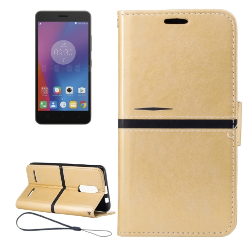 Buy For Lenovo K6 Crazy Horse Texture Horizontal Flip PU Leather Case with Holder & Card Slots & Wallet & Photo Frame & Lanyard, Gold for $2.77 in SUNSKY store