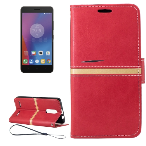 Buy For Lenovo K6 Crazy Horse Texture Horizontal Flip PU Leather Case with Holder & Card Slots & Wallet & Photo Frame & Lanyard, Red for $2.77 in SUNSKY store