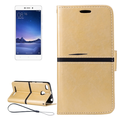 Buy Xiaomi Redmi 3S Crazy Horse Texture Horizontal Flip PU Leather Case with Holder & Card Slots & Wallet & Photo Frame & Lanyard, Gold for $2.76 in SUNSKY store