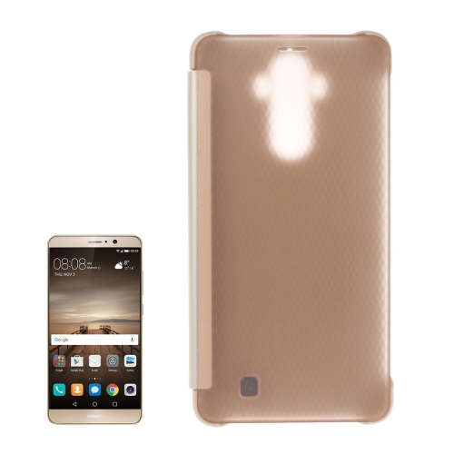 For Huawei Mate 9 Transparent Horizontal Flip Leather Case with Sleep / Wake-up Function(Gold)