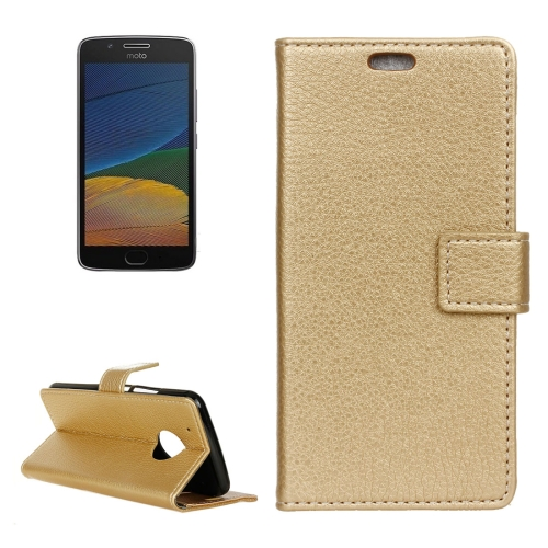 Buy For Motorola Moto G (5th Gen.) Litchi Texture Horizontal Flip Leather Case with Holder & Card Slots & Wallet & Photo Frame, Gold for $2.89 in SUNSKY store