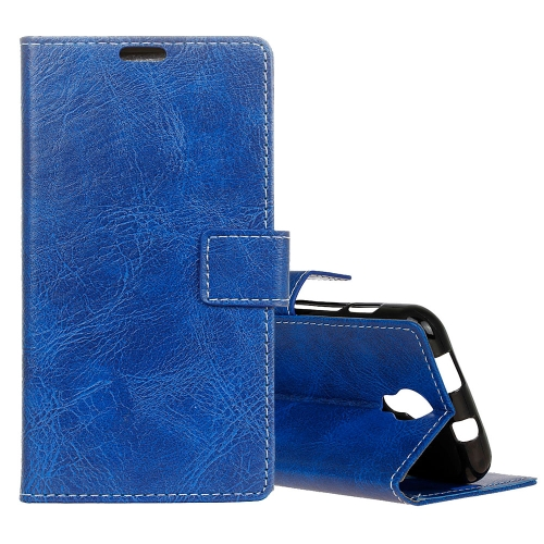 Buy For Wiko Jerry 2 Retro Crazy Horse Texture Horizontal Flip Leather Case with Holder & Card Slots & Wallet & Photo Frame, Blue for $3.20 in SUNSKY store