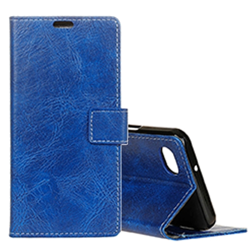 Buy For LG Q6 Retro Crazy Horse Texture Horizontal Flip Leather Case with Holder & Card Slots & Wallet & Photo Frame, Blue for $3.20 in SUNSKY store