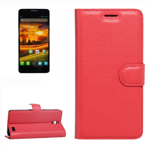 Buy For Alcatel One Touch Idol X Litchi Texture Horizontal Flip Leather Case with Holder & Card Slots & Wallet, Red for $2.28 in SUNSKY store