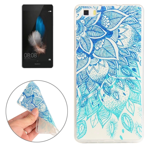 Buy Huawei P8 Blue Leaves Pattern TPU Protective Case for $1.00 in SUNSKY store