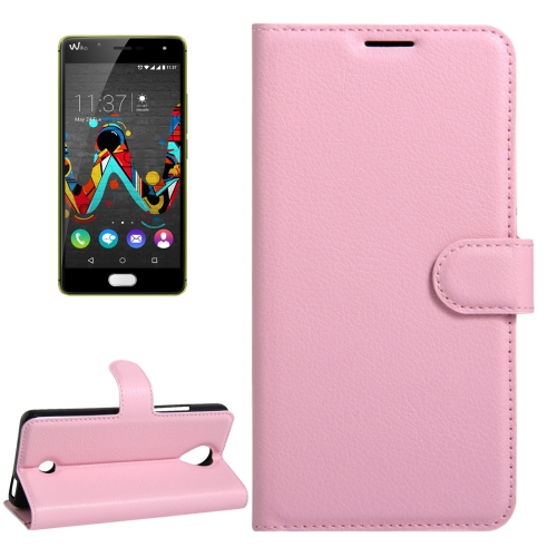 Buy For Wiko U Feel Litchi Texture Horizontal Flip Leather Case with Magnetic Buckle & Holder & Card Slots & Wallet, Pink for $2.17 in SUNSKY store