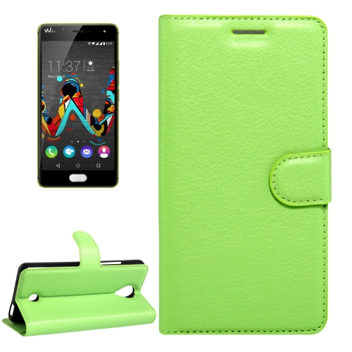 Buy For Wiko U Feel Litchi Texture Horizontal Flip Leather Case with Magnetic Buckle & Holder & Card Slots & Wallet, Green for $2.17 in SUNSKY store