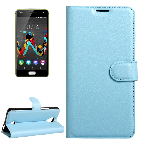 Buy For Wiko U Feel Litchi Texture Horizontal Flip Leather Case with Magnetic Buckle & Holder & Card Slots & Wallet, Blue for $2.17 in SUNSKY store
