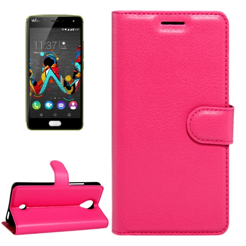 Buy For Wiko U Feel Litchi Texture Horizontal Flip Leather Case with Magnetic Buckle & Holder & Card Slots & Wallet, Magenta for $2.17 in SUNSKY store