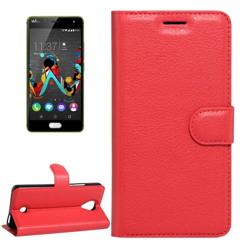 For Wiko U Feel Litchi Texture Horizontal Flip Leather Case with Magnetic Buckle & Holder & Card Slots & Wallet, Red