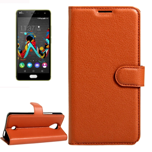 Buy For Wiko U Feel Litchi Texture Horizontal Flip Leather Case with Magnetic Buckle & Holder & Card Slots & Wallet, Brown for $2.17 in SUNSKY store