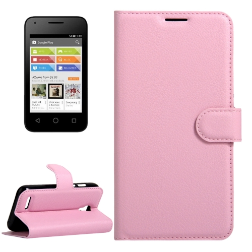Buy For Alcatel Pixi 4 (3.5) Litchi Texture Horizontal Flip Leather Case with Magnetic Buckle & Holder & Card Slots & Wallet, Pink for $2.31 in SUNSKY store