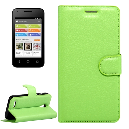 Buy For Alcatel Pixi 4 (3.5) Litchi Texture Horizontal Flip Leather Case with Magnetic Buckle & Holder & Card Slots & Wallet, Green for $2.31 in SUNSKY store