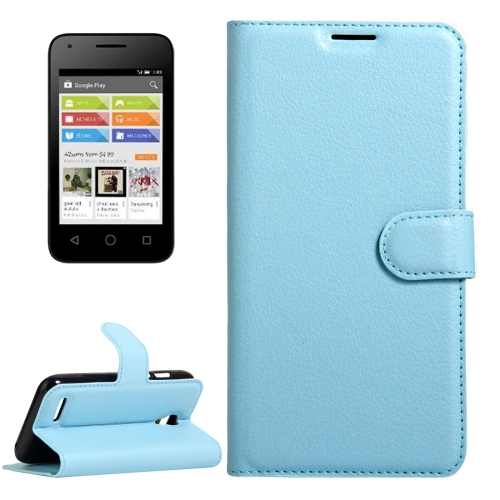 Buy For Alcatel Pixi 4 (3.5) Litchi Texture Horizontal Flip Leather Case with Magnetic Buckle & Holder & Card Slots & Wallet, Blue for $2.31 in SUNSKY store