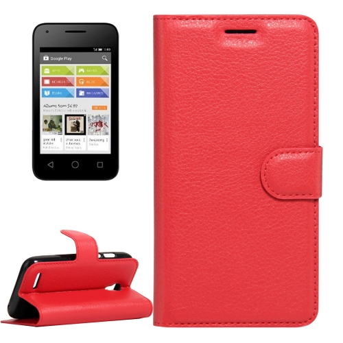 Buy For Alcatel Pixi 4 (3.5) Litchi Texture Horizontal Flip Leather Case with Magnetic Buckle & Holder & Card Slots & Wallet, Red for $2.31 in SUNSKY store