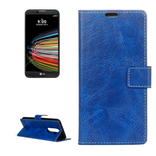 Buy For LG X Mach Retro Crazy Horse Texture Horizontal Flip Leather Case with Holder & Card Slots & Wallet & Photo Frame, Blue for $2.97 in SUNSKY store