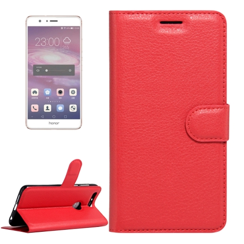 Buy Huawei Honor 8 Litchi Texture Horizontal Flip Leather Case with Magnetic Buckle & Holder & Card Slots & Wallet, Red for $2.31 in SUNSKY store