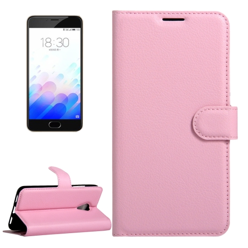 Buy Meizu M3 & M3S (MPH0054/MPH5883) Litchi Texture Horizontal Flip Leather Case with Magnetic Buckle & Holder & Card Slots & Wallet, Pink for $2.31 in SUNSKY store