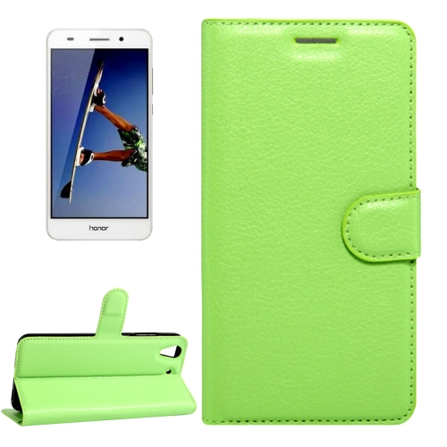 Buy Huawei Honor 5A & Y6 II Litchi Texture Horizontal Flip Leather Case with Magnetic Buckle & Holder & Card Slots & Wallet, Green for $2.20 in SUNSKY store