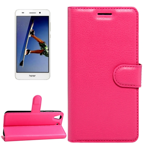 Buy Huawei Honor 5A & Y6 II Litchi Texture Horizontal Flip Leather Case with Magnetic Buckle & Holder & Card Slots & Wallet, Magenta for $2.20 in SUNSKY store