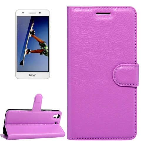 Buy Huawei Honor 5A & Y6 II Litchi Texture Horizontal Flip Leather Case with Magnetic Buckle & Holder & Card Slots & Wallet, Purple for $2.20 in SUNSKY store