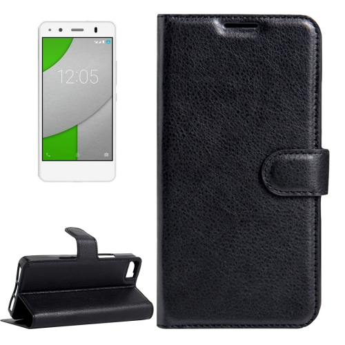 Buy For BQ Aquaris A4.5 Litchi Texture Horizontal Flip Leather Case with Magnetic Buckle & Holder & Card Slots & Wallet, Black for $2.30 in SUNSKY store