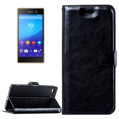 Buy For Sony Xperia M5 Crazy Horse Texture Horizontal Flip Leather Case with Magnetic Buckle & Holder & Card Slots & Wallet & Photo Frame, Black for $2.18 in SUNSKY store