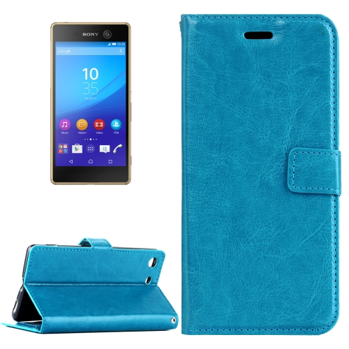 Buy For Sony Xperia M5 Crazy Horse Texture Horizontal Flip Leather Case with Magnetic Buckle & Holder & Card Slots & Wallet & Photo Frame, Blue for $2.18 in SUNSKY store