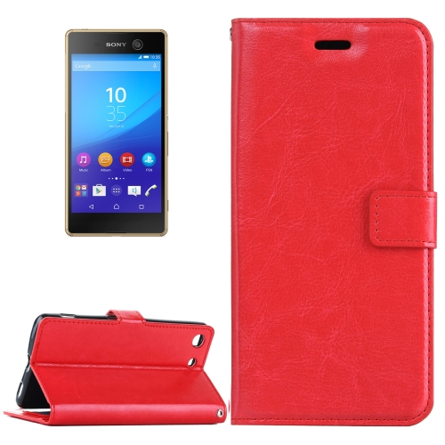 Buy For Sony Xperia M5 Crazy Horse Texture Horizontal Flip Leather Case with Magnetic Buckle & Holder & Card Slots & Wallet & Photo Frame, Red for $2.18 in SUNSKY store