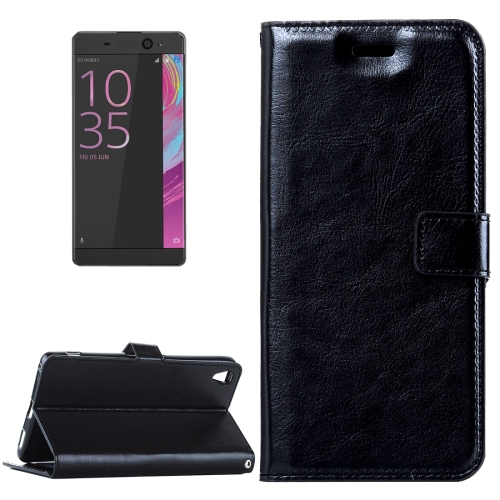 Buy For Sony Xperia E5 Crazy Horse Texture Horizontal Flip Leather Case with Magnetic Buckle & Holder & Card Slots & Wallet & Photo Frame, Black for $2.18 in SUNSKY store