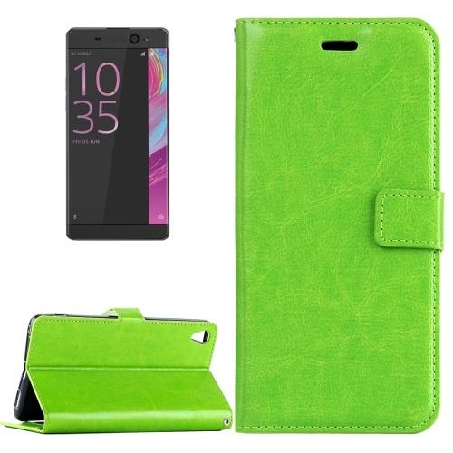 Buy For Sony Xperia E5 Crazy Horse Texture Horizontal Flip Leather Case with Magnetic Buckle & Holder & Card Slots & Wallet & Photo Frame, Green for $2.18 in SUNSKY store