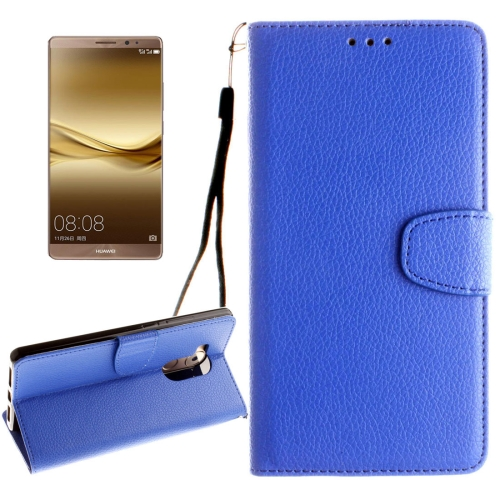 Buy Huawei Mate 8 Litchi Texture Horizontal Flip Leather Case with Magnetic Buckle & Holder & Card Slots & Wallet & Photo Frame & Lanyard, Blue for $2.42 in SUNSKY store