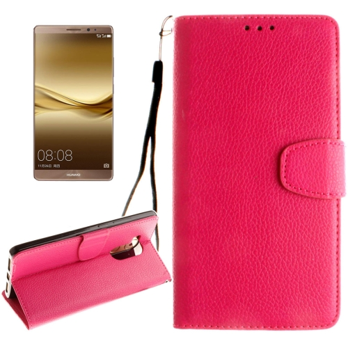 Buy Huawei Mate 8 Litchi Texture Horizontal Flip Leather Case with Magnetic Buckle & Holder & Card Slots & Wallet & Photo Frame & Lanyard, Magenta for $2.42 in SUNSKY store