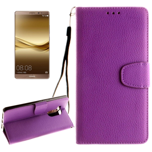 Buy Huawei Mate 8 Litchi Texture Horizontal Flip Leather Case with Magnetic Buckle & Holder & Card Slots & Wallet & Photo Frame & Lanyard, Purple for $2.42 in SUNSKY store