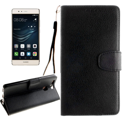 Buy Huawei P9 Litchi Texture Horizontal Flip Leather Case with Magnetic Buckle & Holder & Card Slots & Wallet & Photo Frame & Lanyard, Black for $2.42 in SUNSKY store