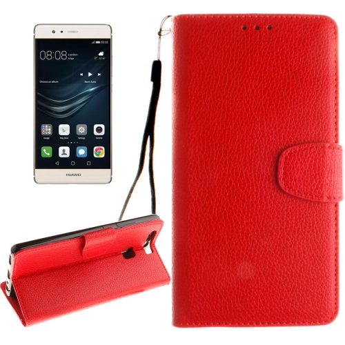 Buy Huawei P9 Litchi Texture Horizontal Flip Leather Case with Magnetic Buckle & Holder & Card Slots & Wallet & Photo Frame & Lanyard, Red for $2.42 in SUNSKY store