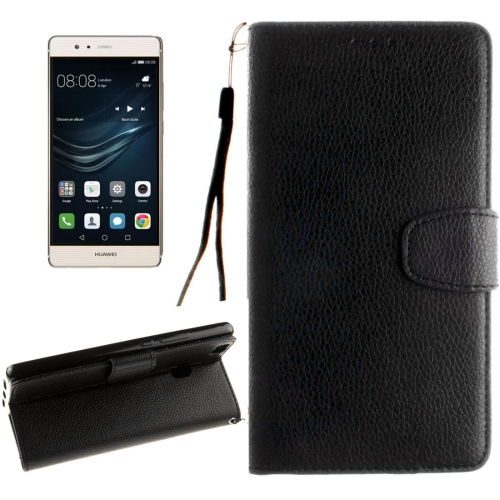 Buy Huawei P9 Lite Litchi Texture Horizontal Flip Leather Case with Magnetic Buckle & Holder & Card Slots & Wallet & Photo Frame & Lanyard, Black for $2.42 in SUNSKY store