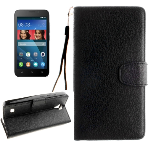 Buy Huawei Y5 / Y560 Litchi Texture Horizontal Flip Leather Case with Magnetic Buckle & Holder & Card Slots & Wallet & Photo Frame & Lanyard, Black for $2.42 in SUNSKY store