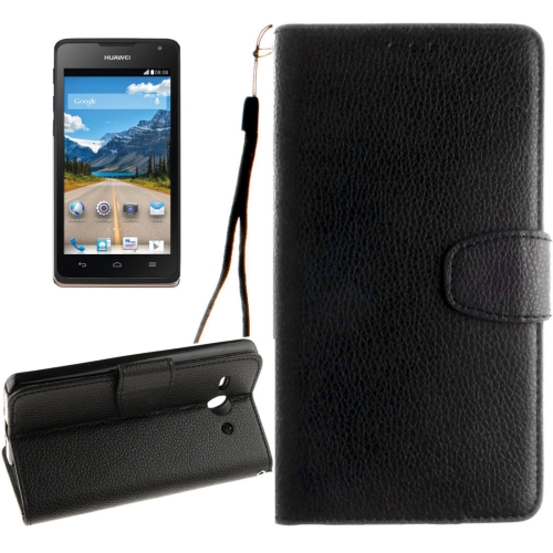 Buy Huawei Ascend Y530 Litchi Texture Horizontal Flip Leather Case with Magnetic Buckle & Holder & Card Slots & Wallet & Photo Frame & Lanyard, Black for $2.42 in SUNSKY store