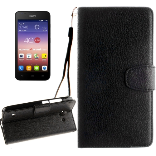 Buy Huawei Ascend Y550 Litchi Texture Horizontal Flip Leather Case with Magnetic Buckle & Holder & Card Slots & Wallet & Photo Frame & Lanyard, Black for $2.42 in SUNSKY store