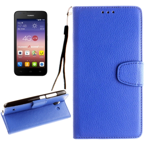 Buy Huawei Ascend Y550 Litchi Texture Horizontal Flip Leather Case with Magnetic Buckle & Holder & Card Slots & Wallet & Photo Frame & Lanyard, Blue for $2.42 in SUNSKY store