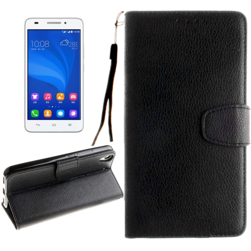 Buy Huawei Honor 4A & Y6 Litchi Texture Horizontal Flip Leather Case with Magnetic Buckle & Holder & Card Slots & Wallet & Photo Frame & Lanyard, Black for $2.42 in SUNSKY store