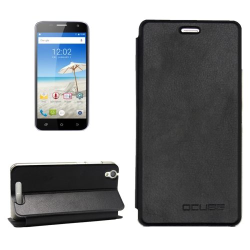 OCUBE CUBOT Manito, MPH1441 Litchi Texture Horizontal Flip Leather Case with Holder, Black
