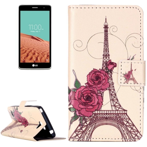 Buy For LG L Bello II Embossment Rose Tower Pattern Horizontal Flip Leather Case with Holder & Card Slots & Wallet for $2.14 in SUNSKY store