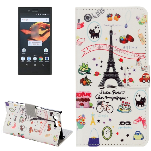Buy For Sony Xperia X Compact Eiffel Tower Pattern Horizontal Flip Leather Case with Holder & Card Slots & Wallet for $2.20 in SUNSKY store