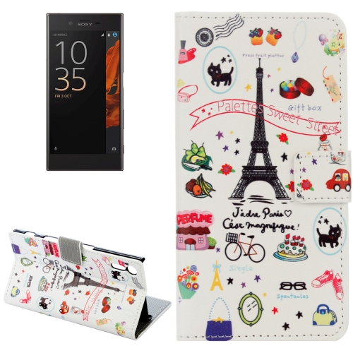 For Sony Xperia XZ Eiffel Tower Pattern Horizontal Flip Leather Case with Holder & Card Slots & Wallet